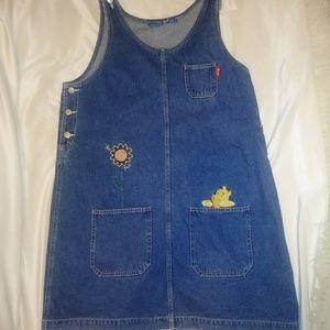 Vintage Pooh Jean Denim Jumper Dress 90s